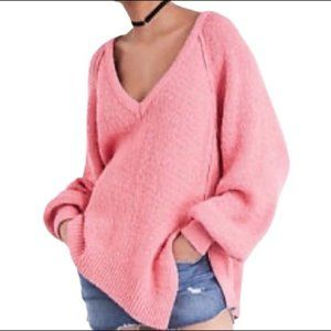 Free People Pink V-Neck Asymmetrical Sweater XS